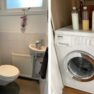 Toilet en wasmachine beneden